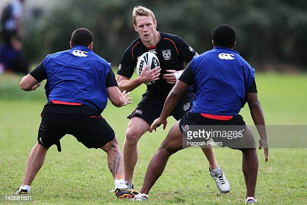 Micheal Luck runs through drills during a New Zealand Warriors NRL training session at Otahuhu College on April 30 2012 in Auckland New Zealand