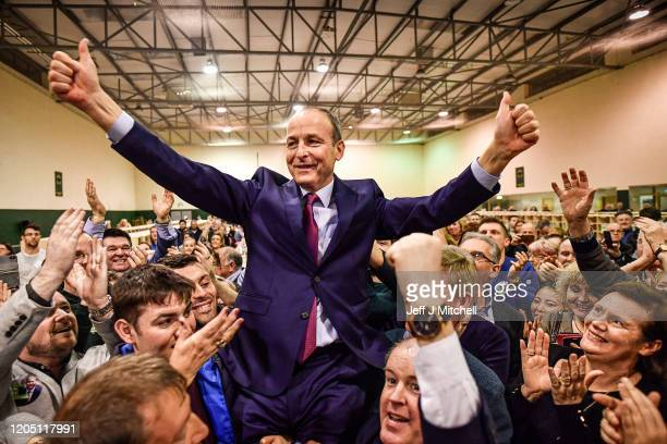 Micheal Martin of Fianna Fail reacts to being elected to the 33rd Dáil at the Irish General Election count at the Cork SouthCentral constituency at...