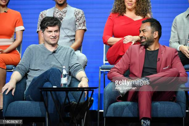 Micheal Schur and Kal Pen of Sunnyside speak during the NBC segment of the 2019 Summer TCA Press Tour at The Beverly Hilton Hotel on August 8 2019 in...