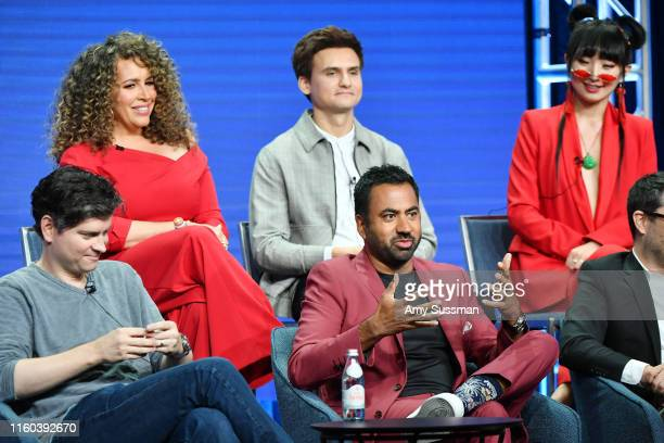Micheal Schur Kal Pen Diana Maria Riva Moses Storm and Poppy Liu of Sunnyside speak during the NBC segment of the 2019 Summer TCA Press Tour at The...