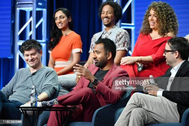 Micheal Schur Kal Pen Matt Murray Kiran Deol Samba Schutte and Diana Maria Riva of Sunnyside speak during the NBC segment of the 2019 Summer TCA...