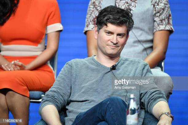 Micheal Schur of Sunnyside speaks during the NBC segment of the 2019 Summer TCA Press Tour at The Beverly Hilton Hotel on August 8 2019 in Beverly...