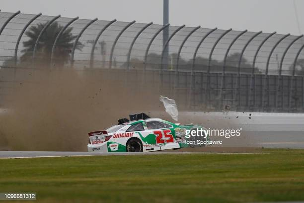Micheal Self driver of the Sinclair Oil Toyota wrecks during the Lucas Oil 200 Driven by General Tire on February 9 2019 at Daytona International...