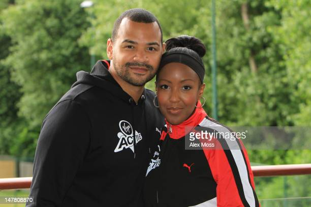 Micheal Underwood and Angellica Bell attend a photocall to reveal Richard Branson's celebrity team taking part in this year's Virgin Active London...
