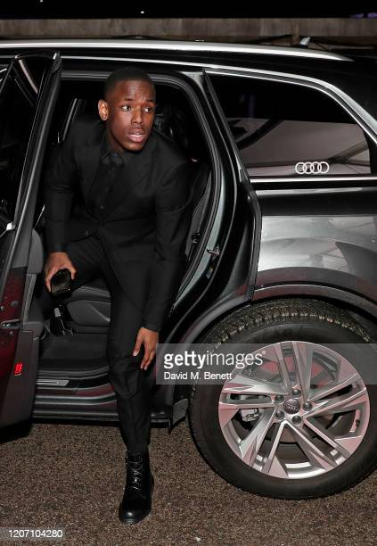 Micheal Ward arrives in an Audi at the BRIT Awards at The O2 Arena on February 18 2020 in London England