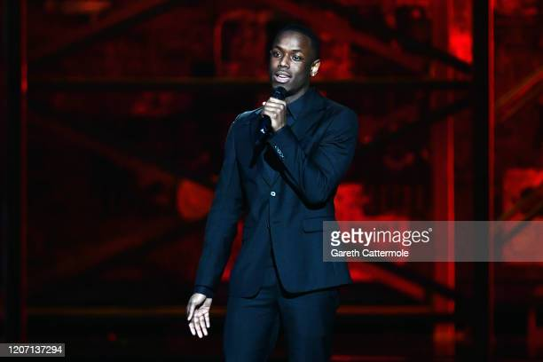 Micheal Ward introduces Dave during The BRIT Awards 2020 at The O2 Arena on February 18 2020 in London England