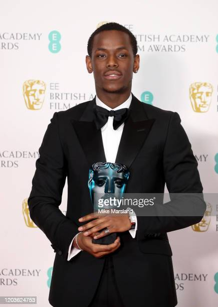 Micheal Ward with the EE Rising Star Award poses in the Winners Room during the EE British Academy Film Awards 2020 at Royal Albert Hall on February...