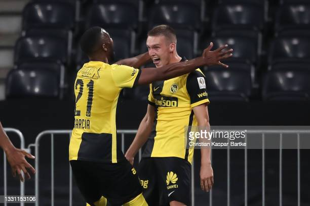 Michel Aebischer of BSC Young Boys celebrates after scoring their side`s third goal with teammate Ulisses Garcia of BSC Young Boys during the UEFA...