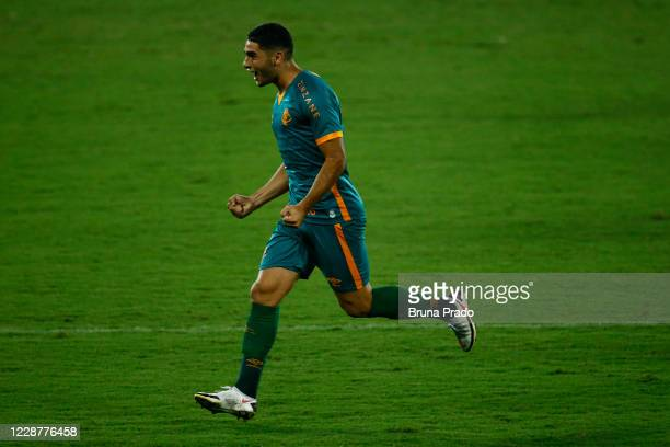 Michel Araujo of Fluminense celebrates after scoring during the match between Fluminense and Coritiba as part of the Brasileirao Series A at Engenhao...