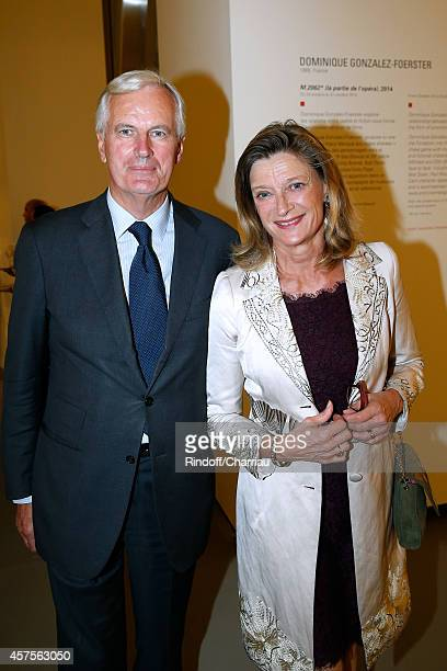 Michel Barnier and his wife Isabelle attend the Foundation Louis Vuitton Opening at Foundation Louis Vuitton on October 20 2014 in...