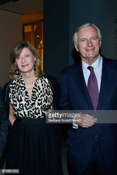 Michel Barnier and his wife Isabelle attend the Icones de l'Art Moderne La Collection Chtchoukine Cocktail at Fondation Louis Vuitton on October 20...