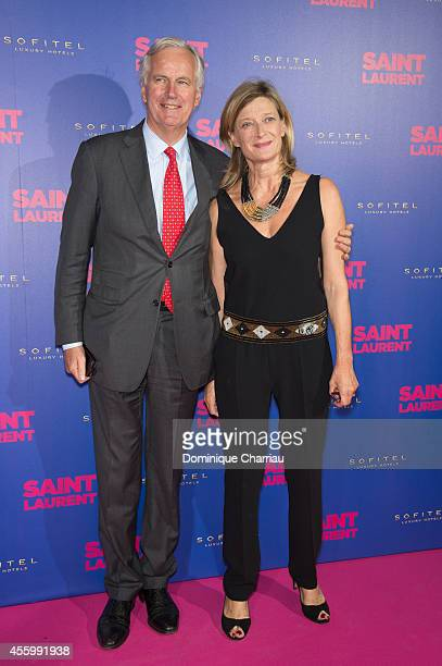 Michel Barnier and his wife Isabelle attend the 'Saint Laurent' at Centre Pompidou on September 23 2014 in Paris France