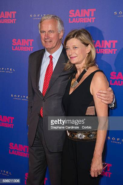 Michel Barnier and his wife Isabelle attend the Saint Laurent Premiere at Centre Pompidou on September 23 2014 in Paris France