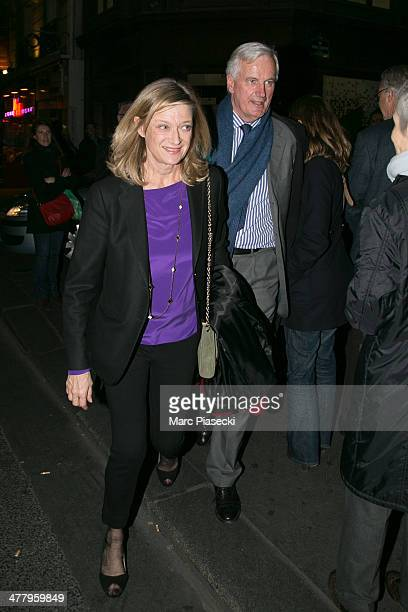 Michel Barnier and his wife Isabelle leave the Carla Bruni concert at Olympia Hall on March 11 2014 in Paris France