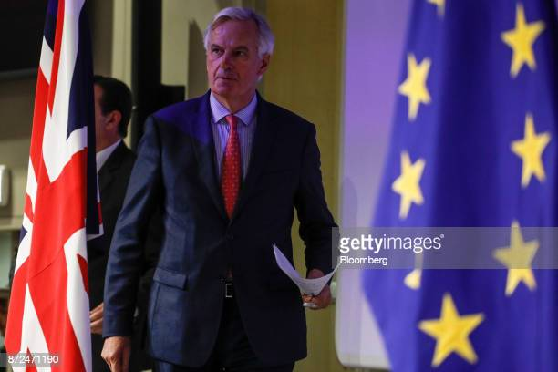 Michel Barnier chief negotiator for the European Union arrives for a news conference following the sixth round of Brexit negotiations in Brussels...