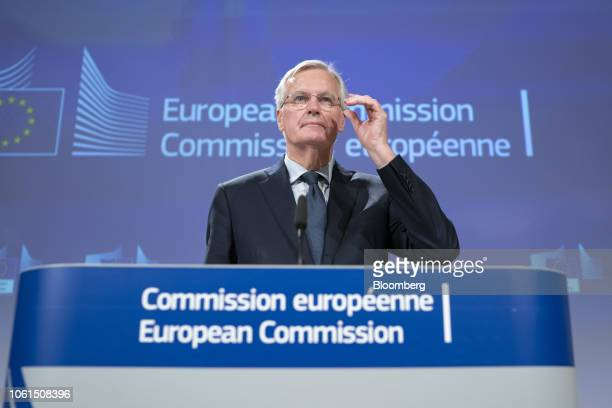 Michel Barnier chief negotiator for the European Union listens to a question during a news conference in Brussels Belgium on Wednesday Nov 14 2018...