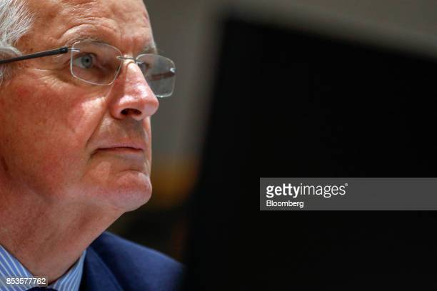 Michel Barnier chief negotiator for the European Union looks on during a meeting at the EU Council in Brussels Belgium on Monday Sept 25 2017 The...