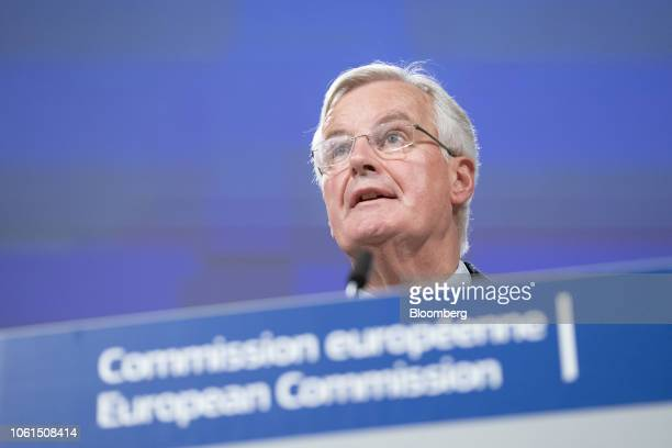 Michel Barnier chief negotiator for the European Union speaks during a news conference in Brussels Belgium on Wednesday Nov 14 2018 Barnier set out...