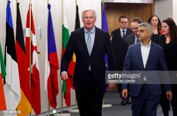 Michel Barnier European Commission's Head of Task Force for Relations with the United Kingdom talks with Mayor of London Sadiq Khan at the EU...