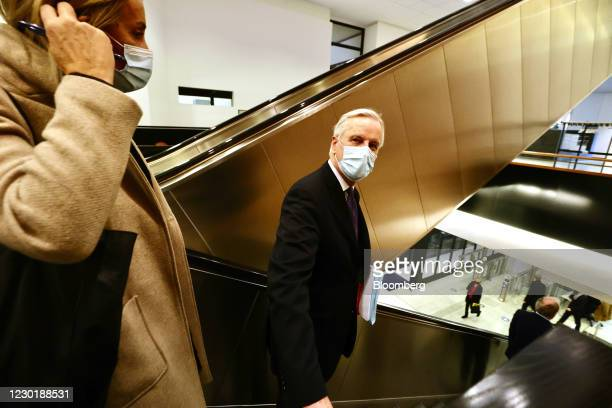 Michel Barnier, European Union chief negotiator, departs a plenary session on future relations between the EU and the U.K. In the European Parliament...