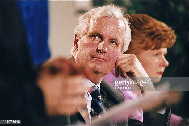 Michel Barnier French Foreign Affairs minister and Mrs Vaira Vike Freiberga president of Latvia at the Explanation Campaign of Constitution in Lille...