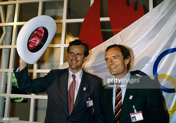 Michel Barnier Savoie's Regional Councillor and Regional Council President stands alongside former French skiing gold medalist JeanClaude Killy...