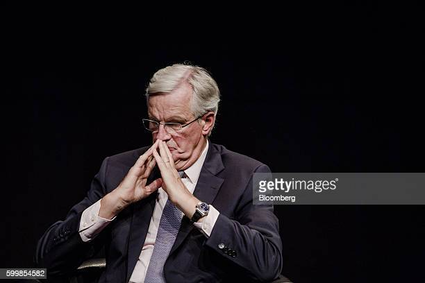 Michel Barnier the incoming chief Brexit negotiator for the European Commission pauses during a panel discussion in Brussels Belgium on Wednesday...
