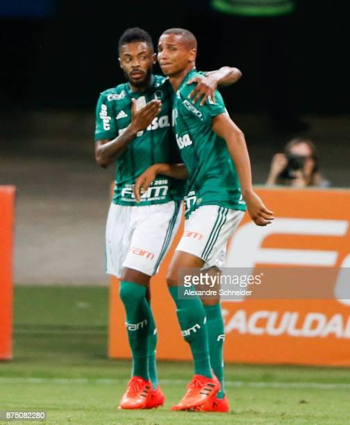Michel Bastos and Deyverson of Palmeiras celebrate their first goal during the match between Palmeiras and Sport Recife for the Brasileirao Series A...