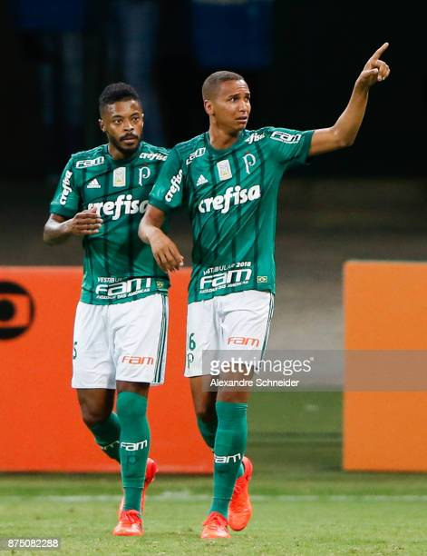 Michel Bastos and Deyverson of Palmeiras celebrate their first goal during the match between Palmeiras and Sport Recife for the Brasileirao Series A...