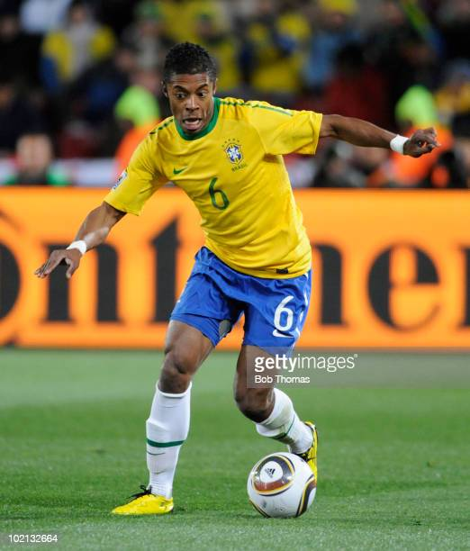 Michel Bastos of Brazil moves the ball during the 2010 FIFA World Cup South Africa Group G match between Brazil and North Korea at Ellis Park Stadium...