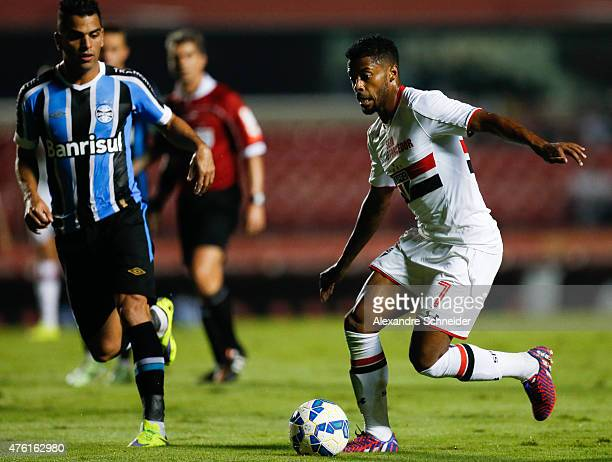 Michel Bastos of Sao Paulo in action during the match between Sao Paulo and Gremio for the Brazilian Series A 2015 at Morumbi stadium on June 06 2015...