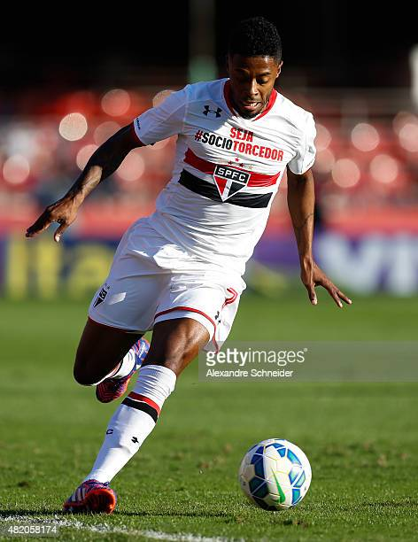 Michel Bastos of Sao Paulo in action during the match between Sao Paulo and Cruzeiro for the Brazilian Series A 2015 at Morumbi stadium on July 26...