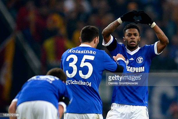 Michel Bastos of Schalke celebrates after scoring his team's second goal during the UEFA Champions League round of 16 second leg match between...
