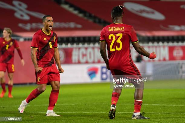 Michel Batshuayi of Belgium celebrates with teammate Youri Tielemans of Belgium after scoring 2nd goal for his side during the international friendly...