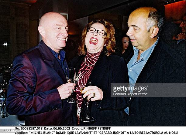 Michel Blanc Dominique Lavanant and Gerard Jugnot Motorola party at Nobu in Paris in 2002