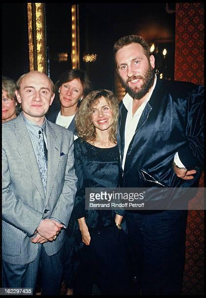 Michel Blanc , Elisabeth Depardieu and Gerard Depardieu after Exces Contraire Dress Rehearsal at the Theatre des Bouffes Parisiens, 1987.