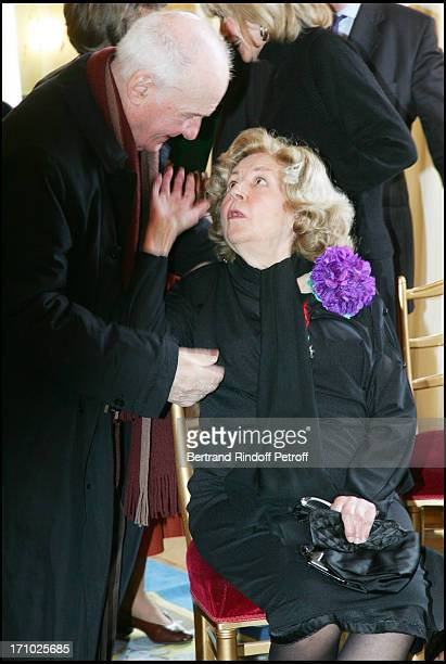 Michel Bouquet and Suzy Delair Suzy Declair is made Officer of the National Order of Legion of Honor at the ministry of culture in Paris
