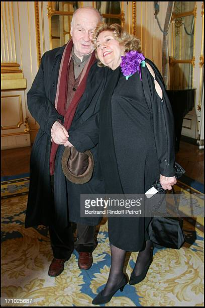 Michel Bouquet and Suzy Delair - Suzy Declair is made Officer of the National Order of Legion of Honor at the ministry of culture in Paris.