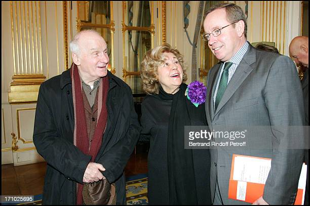 Michel Bouquet Suzy Delair and Renaud Donnedieu De Vabres Suzy Declair is made Officer of the National Order of Legion of Honor at the ministry of...
