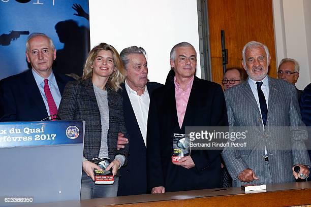 Michel Cadot Alice Taglioni Alain Delon Pierre Pouchairet and JeanPaul Belmondo attend the 70 th Anniversary of 'Prix du Quai des Orfevres' at 36...