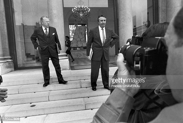 Michel Charasse and Jean Pierre Soisson in Paris France in February 1990 In the Elysee