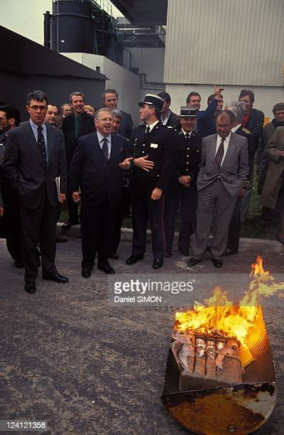 Michel Charasse fights against drugs and cannabis in Bayonne France on January 11 1991 Budget Minister Michel Charasse