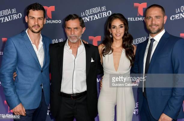 Michel Chauvet Humberto Zurita Sandra Echeverria and Michel Brown attend the Telemundo screening of La Querida Del Centauro on May 2 2017 in Coral...