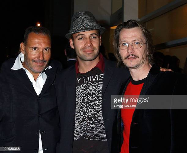 Michel Comte Billy Zane Gary Oldman during Julian Schnabel Big Girl Paintings Exhibition at The Gagosian Gallery in Beverly Hills California United...
