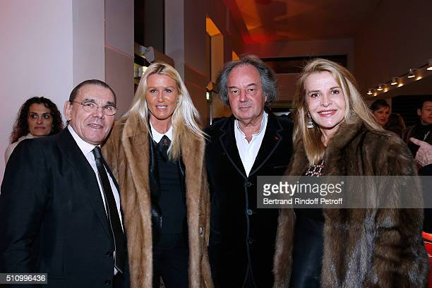 Michel Corbiere Alice Bertheaume her companion Gonzague SaintBris and Eugenia Grandchamp Des Raux attend Le Retour De Marlene Dietrich Theater Play...
