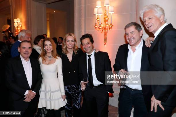 "March 11: Michel Corbiere, Cyrielle Clair, Christelle Bardet, Laurent Gerra, Yves Calvi and Gerard Lenorman attend the ""Stethos d'Or 2019"" Charity..."