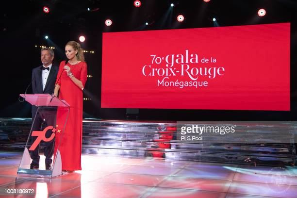 Michel Cymes and Adriana Karembeu attend the 70th Monaco Red Cross Ball Gala on July 27 2018 in MonteCarlo Monaco