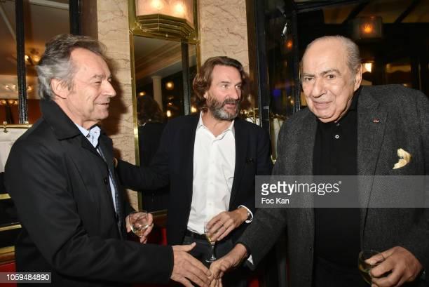 Michel Deniso Frederic Beigbeder and Pierre Benichou attend the 'Prix De Flore 2018' Literary Prize Winner Announcement At Cafe De Flore on November...