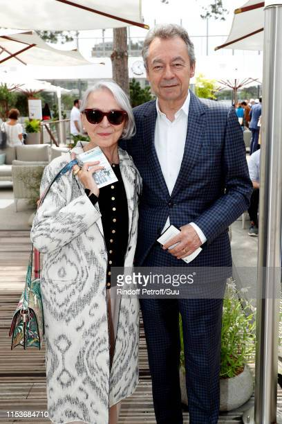 Michel Denisot and his wife Martine Patier attend the 2019 French Tennis Open Day Ten at Roland Garros on June 04 2019 in Paris France