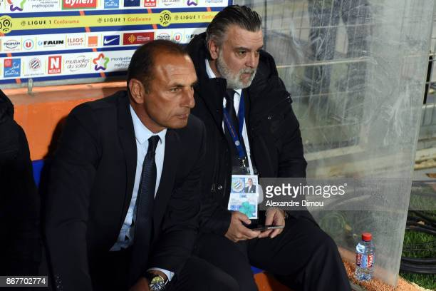 Michel Der Zakarian Coach and Laurent Nicollin President of Montpellier during the Ligue 1 match between Montpellier Herault SC and Stade Rennais at...